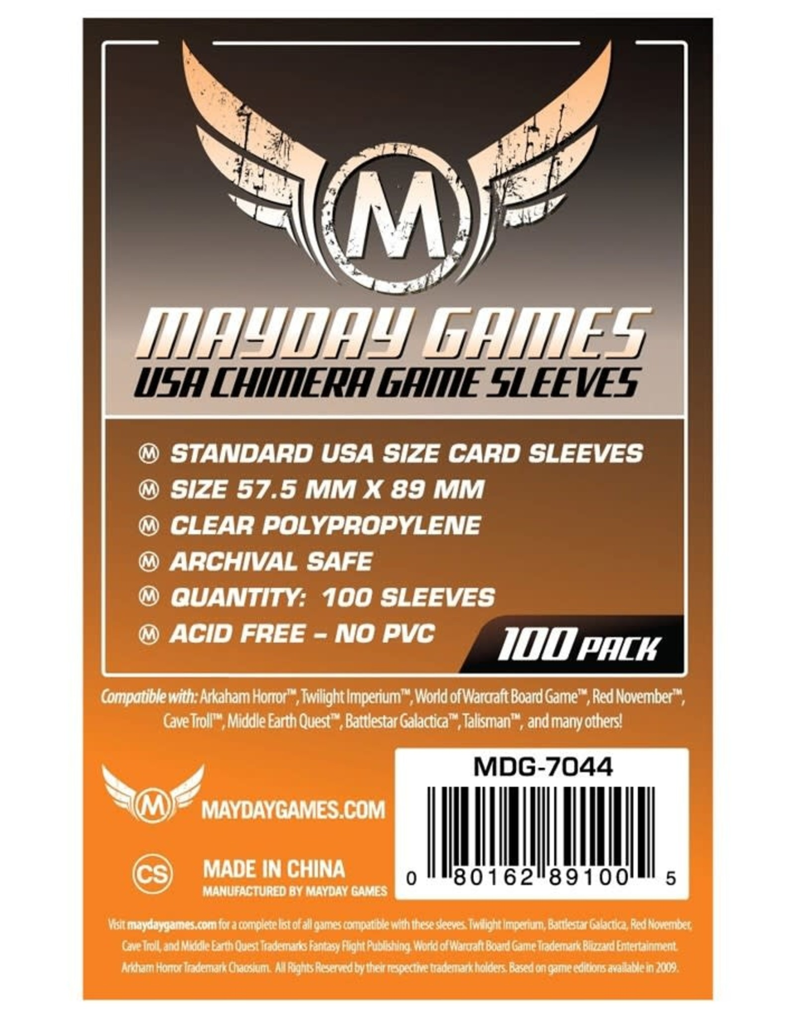 Mayday Games Sleeves: Mayday USA Chimera Game Sleeves 57.5mm x 89mm Orange (100)