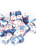 Chessex Gemini 7: 12mm D6 Astral Blue/White/Red (36)
