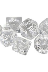 Chessex Polyhedral Dice Set: Translucent Clear/White (7)