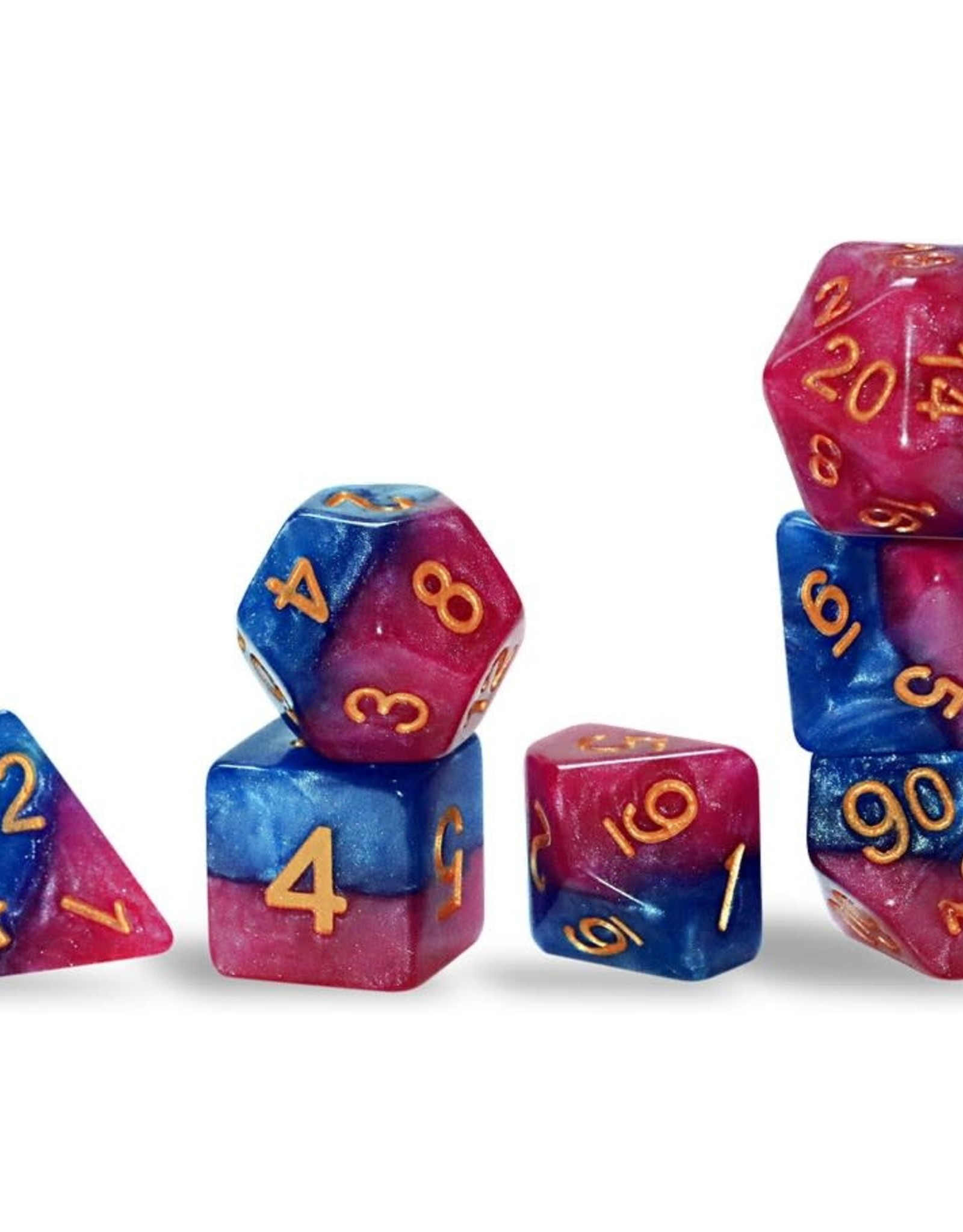 Gate Keeper Games Halfsies Dice: The Court Jester (7 Polyhedral Dice Set)