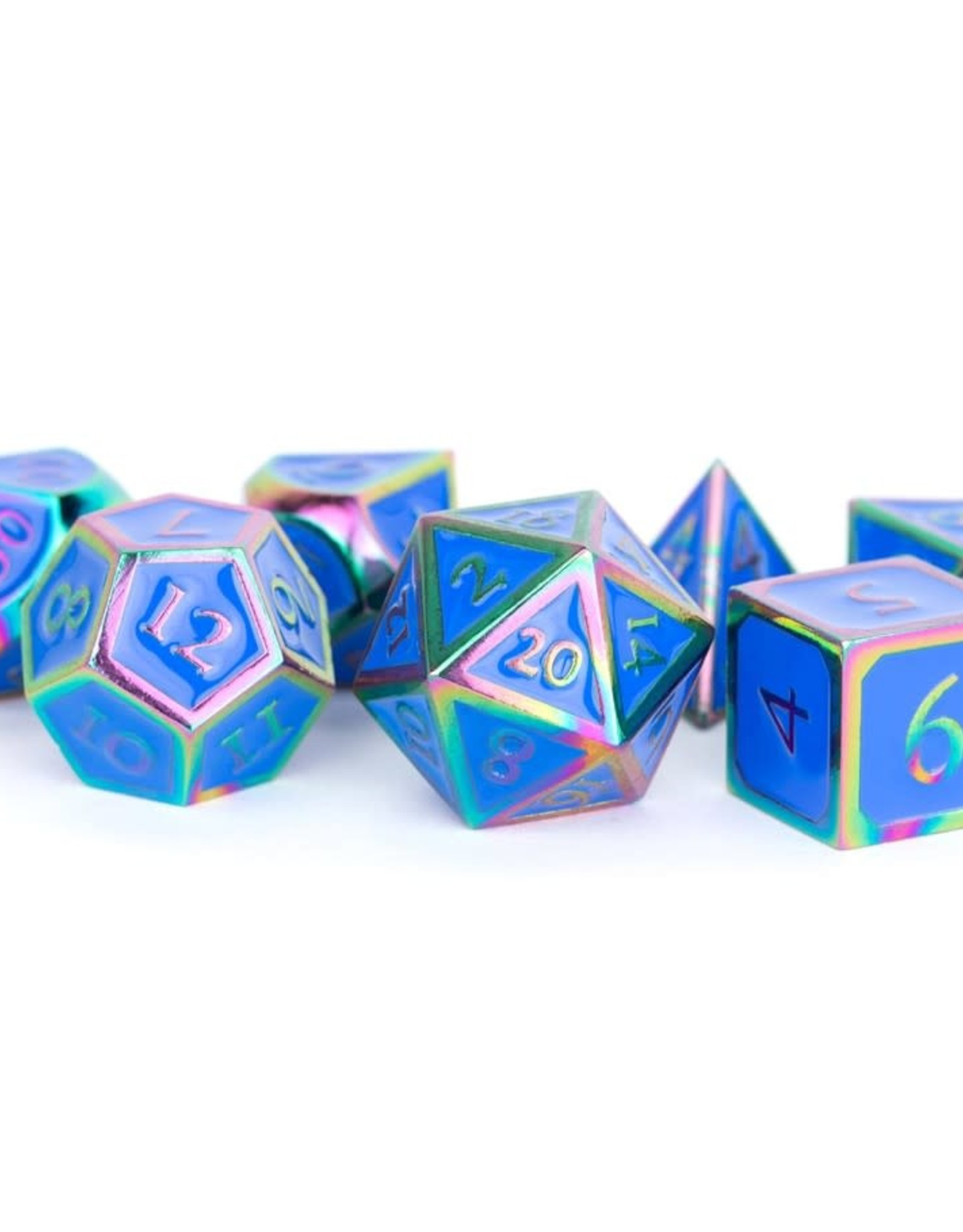 Metallic Dice Games Polyhedral Dice Set: 16mm Metal Rainbow with Blue Enamel