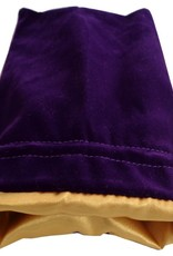 Metallic Dice Games Dice Bag: 4in x 6in Purple Velvet with Gold Satin Lining