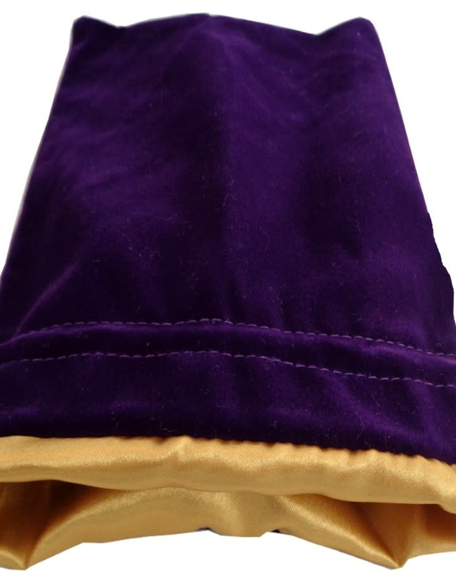 Metallic Dice Games Dice Bag: 6in x 8in LARGE Purple Velvet with Gold Satin Lining