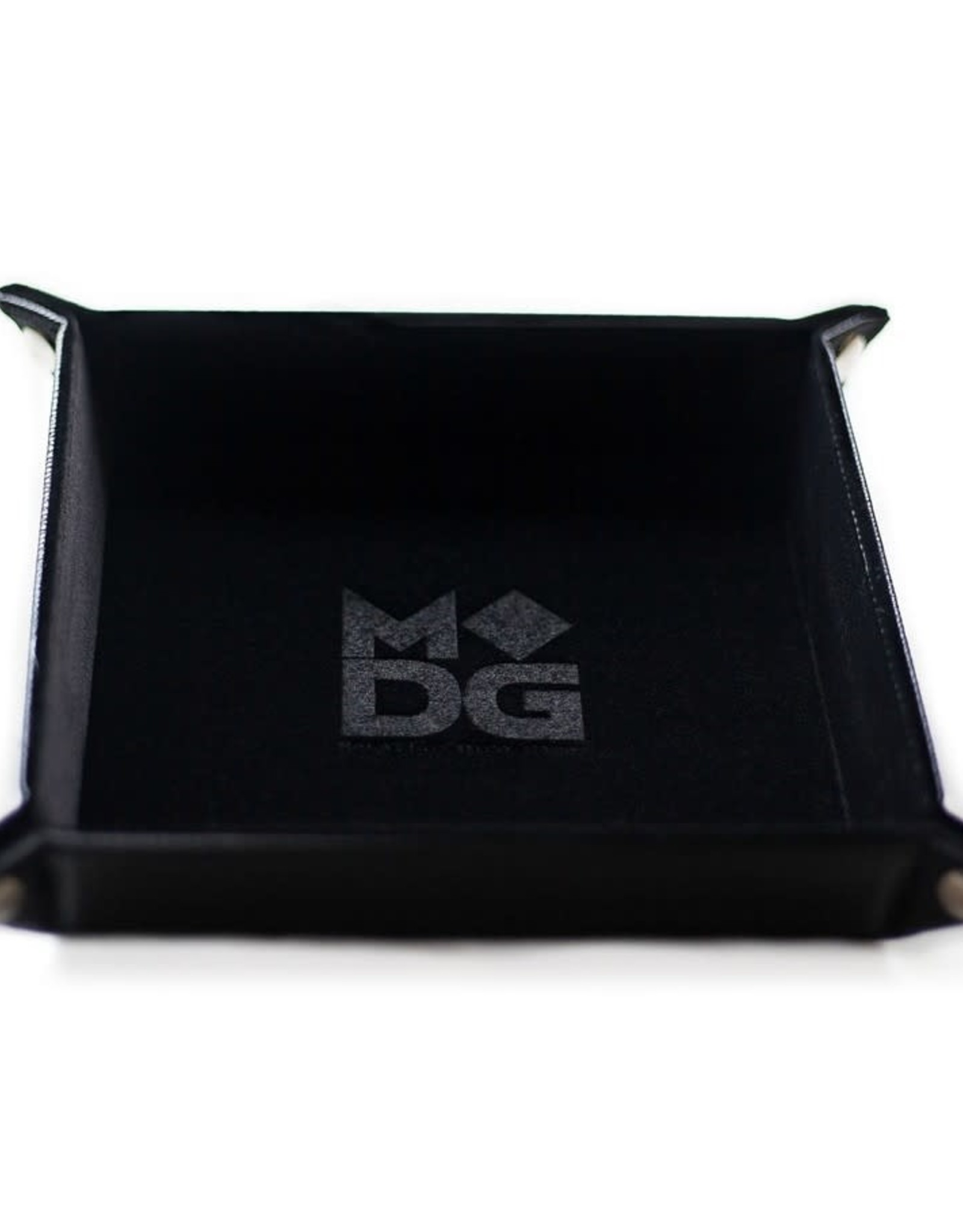 Metallic Dice Games Dice Tray: Velvet Folding with Leather Backing Black