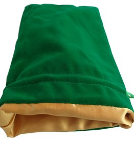 Metallic Dice Games Dice Bag: 6in x 8in LARGE Green Velvet with Gold Satin Lining