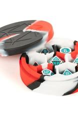 Metallic Dice Games Silicone Round Dice Case: Red/Black/White