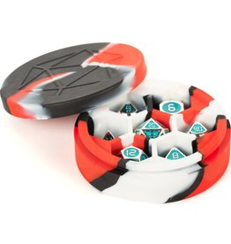 Metallic Dice Games Dice Case: Silicone Round Red/Black/White