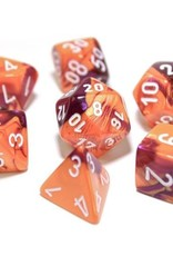 Chessex Polyhedral Lab Dice Set: Gemini Orange/Purple/White (7)