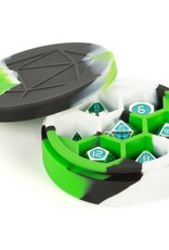 Metallic Dice Games Silicone Round Dice Case: Green/Black/White