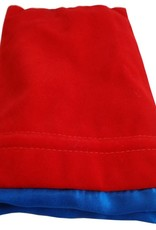 Metallic Dice Games Dice Bag: 6in x 8in LARGE Red Velvet with Blue Satin Lining