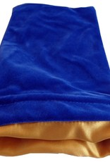 Metallic Dice Games Dice Bag: 6in x 8in LARGE Blue Velvet with Gold Satin Lining