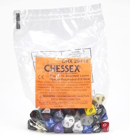 Chessex Assorted D10 Dice: Bag of Opaque Dice (50)