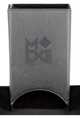 Metallic Dice Games Fold Up Leather Dice Tower: Black