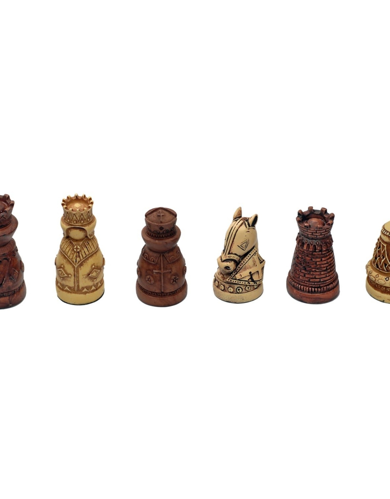 Chess Set: Medieval Polystone Pieces with 15 Inch Board