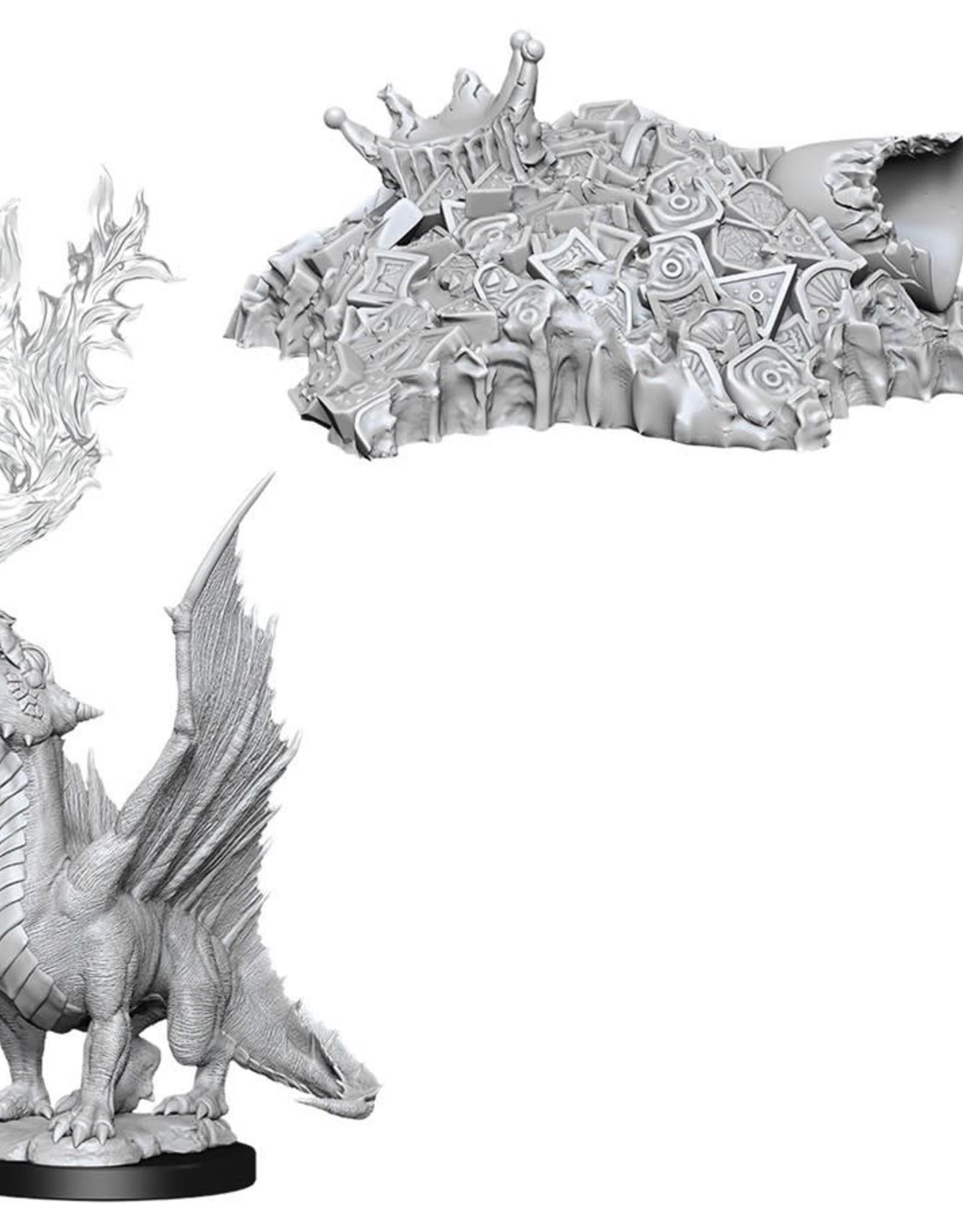 Wizkids D&D Nolzur's Unpainted Miniatures: Gold Dragon Wyrmling & Small Treasure Pile