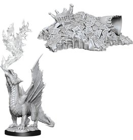 Wizkids D&D Nolzur's Unpainted Miniatures: Gold Dragon Wyrmling & Small Treasure Pile