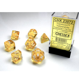 Chessex Polyhedral Dice Set: Translucent Yellow/White (7)