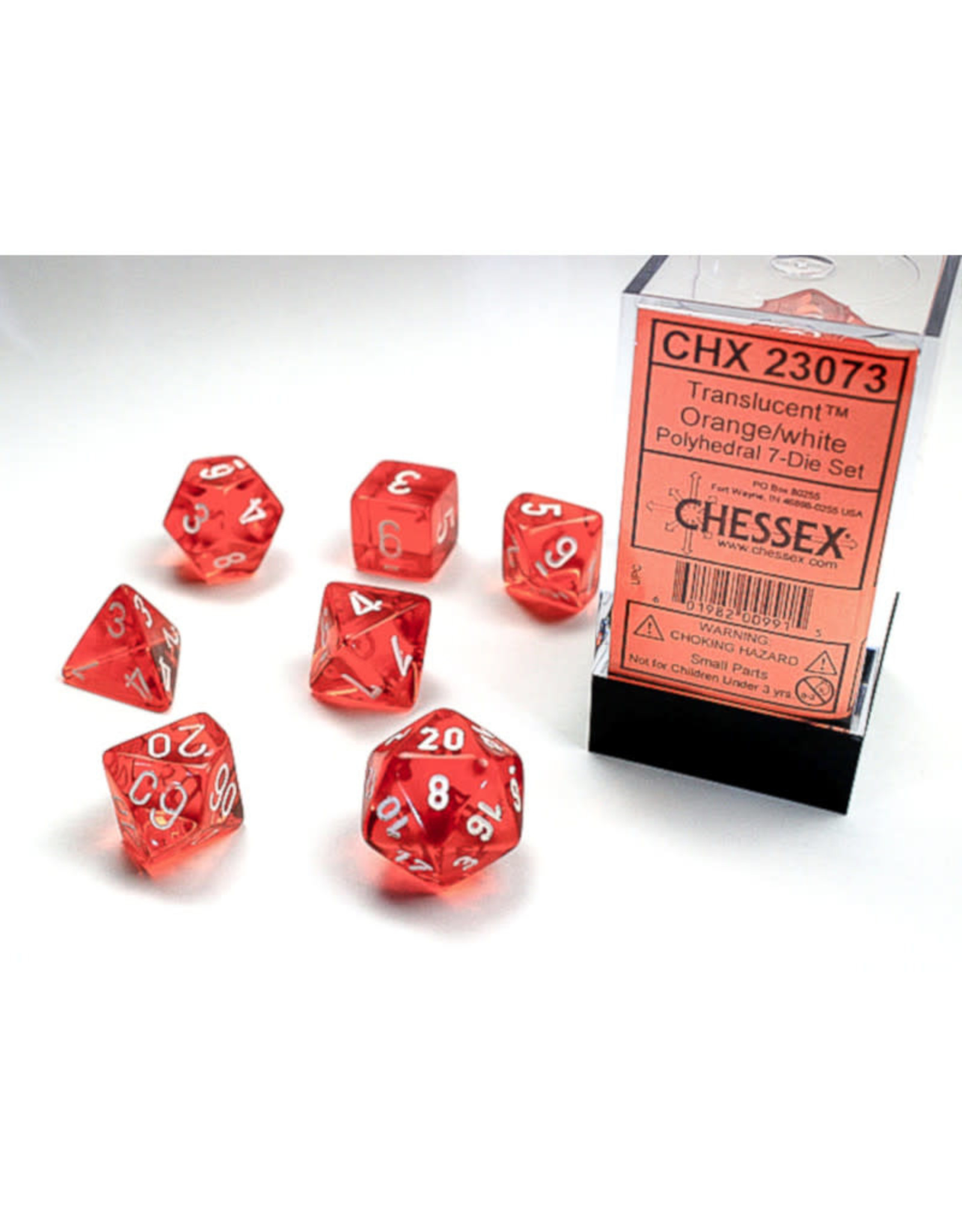 Chessex Polyhedral Dice Set: Translucent Orange/White (7)
