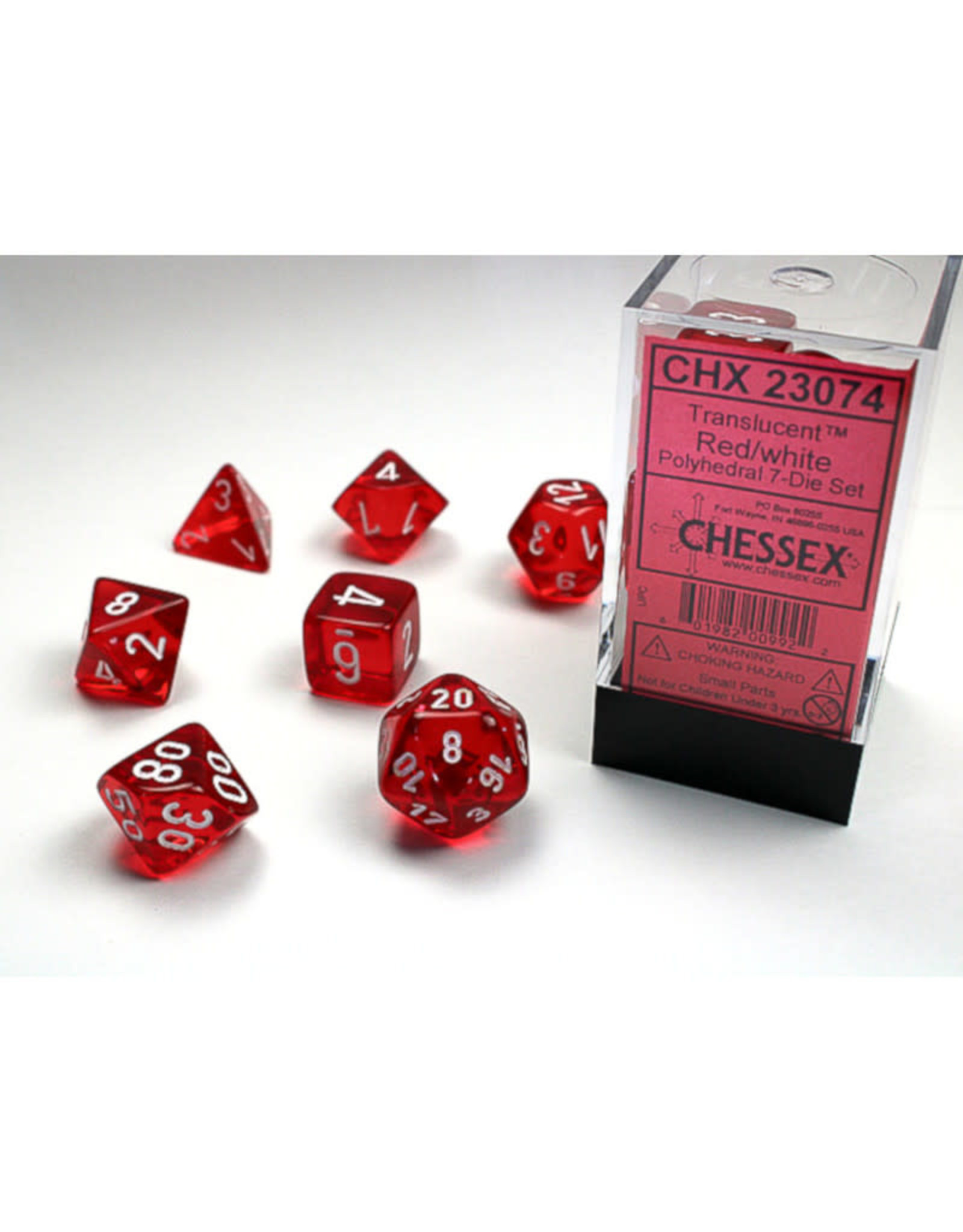 Chessex Polyhedral Dice Set: Translucent Red/White (7)