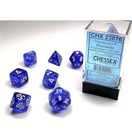 Chessex Polyhedral Dice Set: Translucent Blue/White (7)