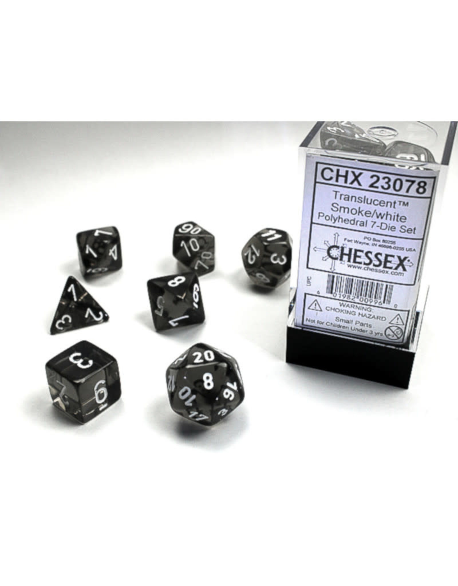 Chessex Polyhedral Dice Set: Translucent Smoke/White (7)