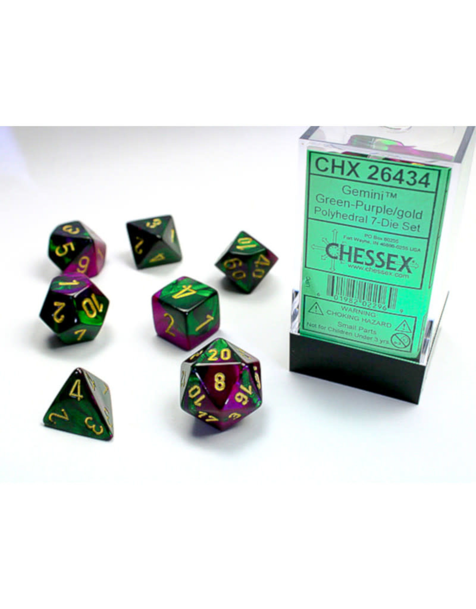 Chessex Polyhedral Dice Set: Gemini Green Purple/Gold (7)