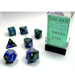 Chessex Polyhedral Dice Set: Gemini Blue Green/Gold (7)