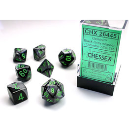 Chessex Polyhedral Dice Set: Gemini Black Grey/Green (7)