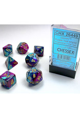Chessex Polyhedral Dice Set: Gemini Purple Teal/Gold (7)