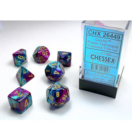 Chessex Polyhedral Dice Set: Gemini Purple Teal/Gold (7)