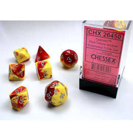 Chessex Polyhedral Dice Set: Gemini Red Yellow/Silver (7)