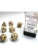 Chessex Polyhedral Dice Set: Dm4 Marble Ivory/Black (7)