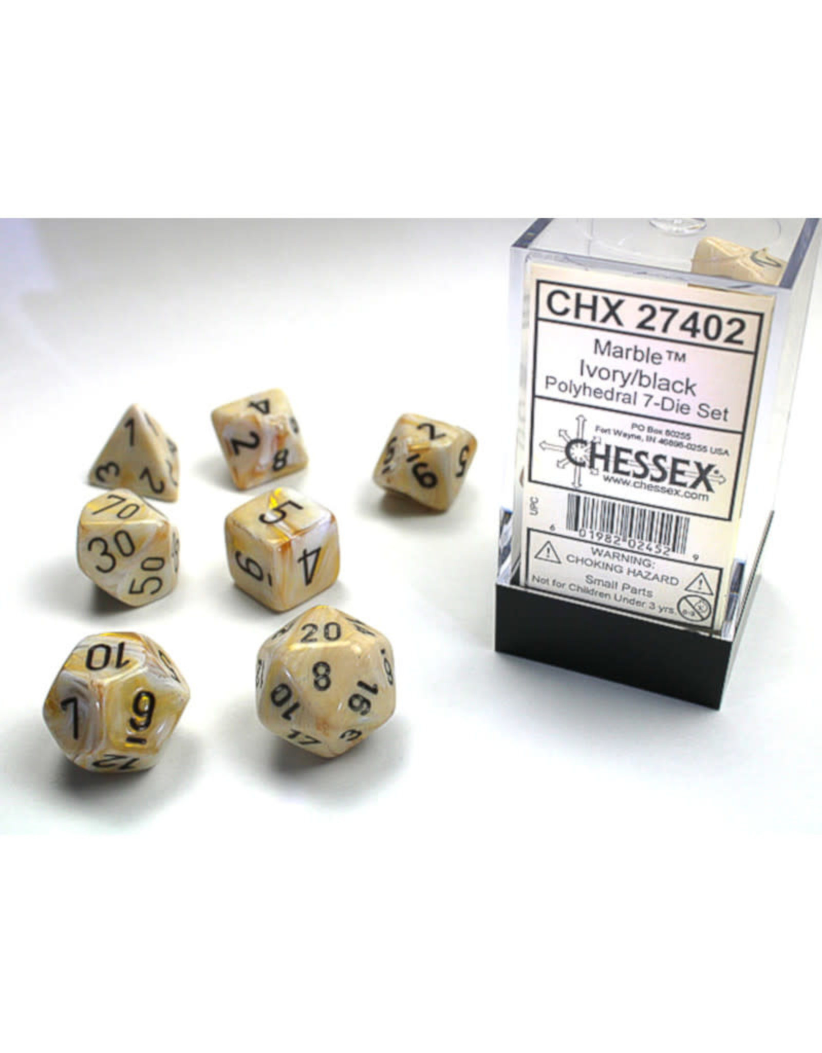 Chessex Polyhedral Dice Set: Marble Ivory/Black (7)