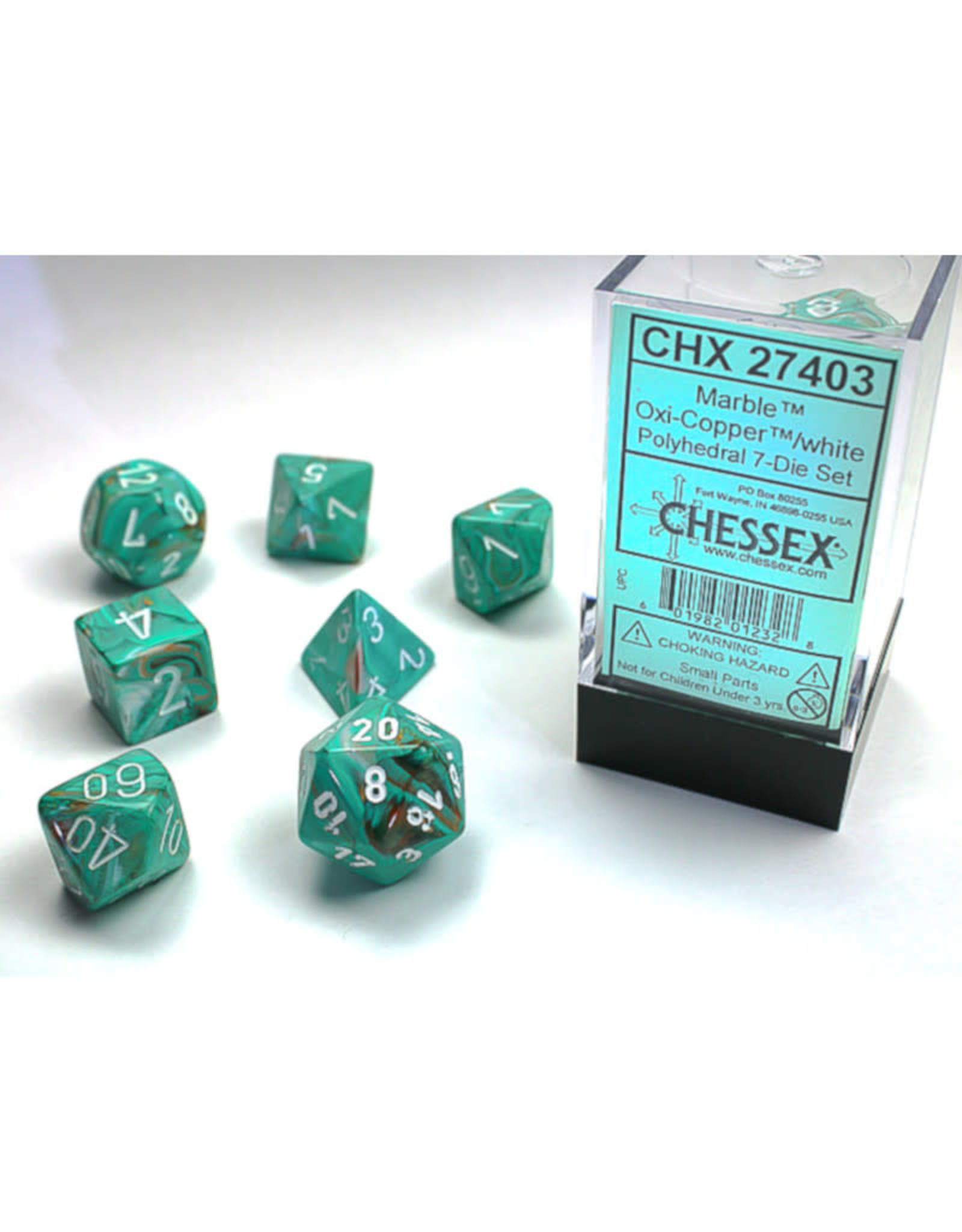 Chessex Polyhedral Dice Set: Menagerie Marble Oxi Copper/White (7)