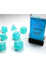 Chessex Polyhedral Dice Set: Frosted Teal/White (7)