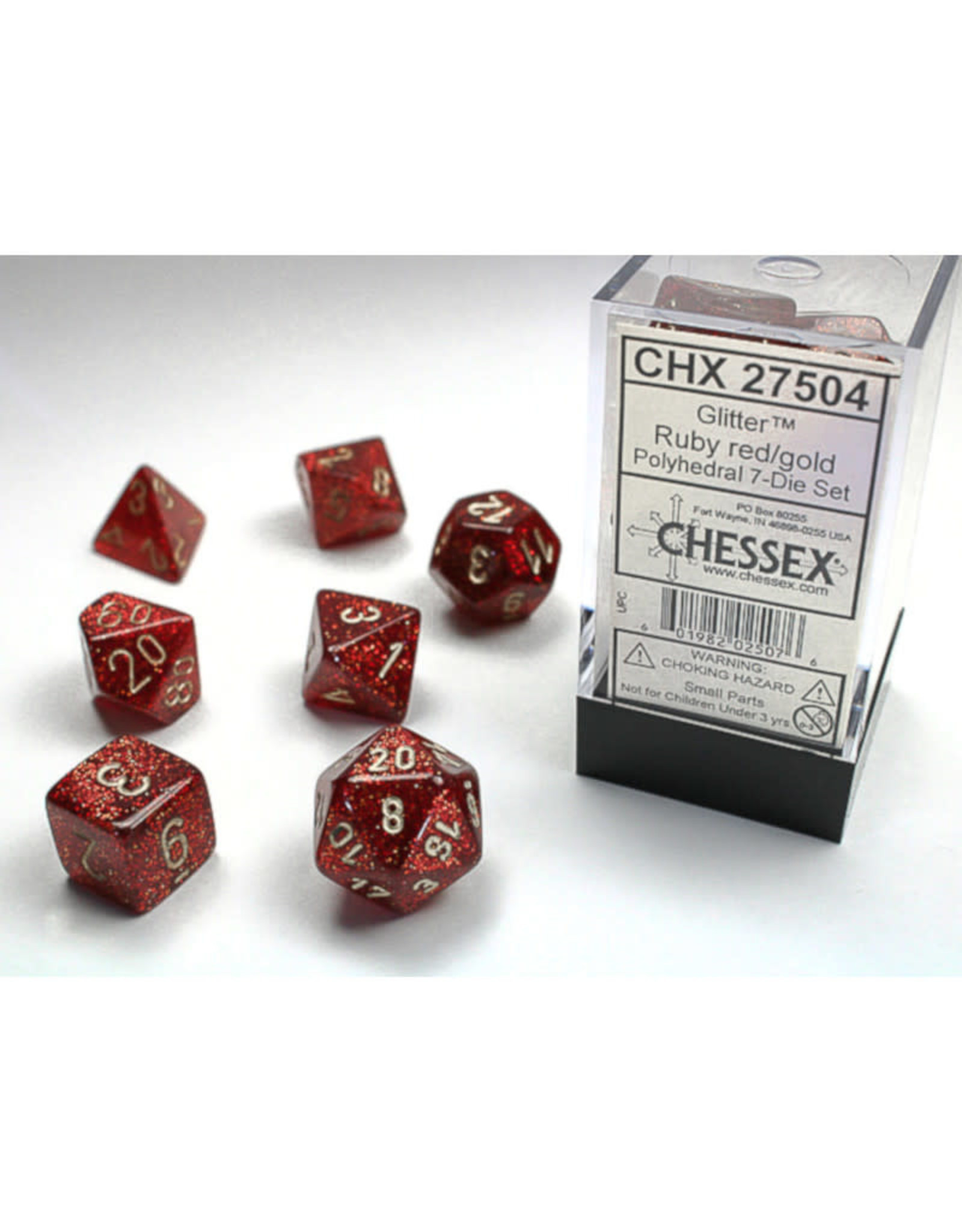 Chessex Polyhedral Dice Set: Glitter Ruby/Gold (7)