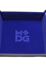 Metallic Dice Games Dice Tray: Velvet Folding with Leather Backing Blue