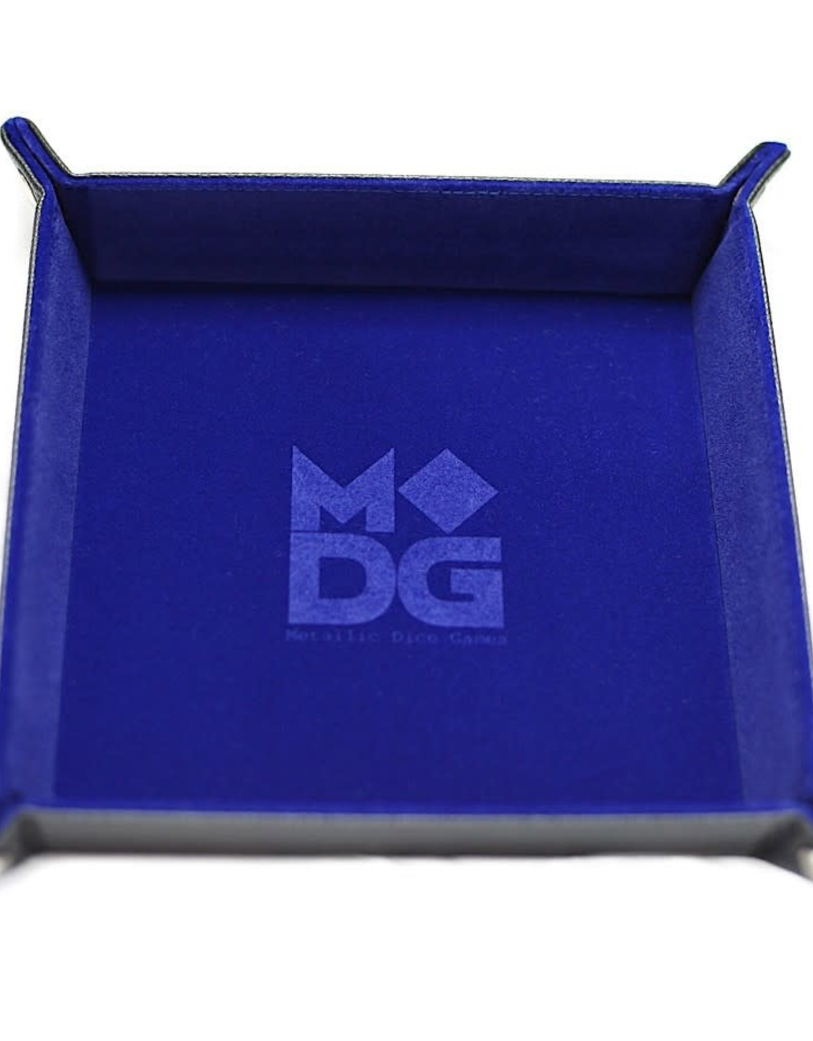 Metallic Dice Games Folding Dice Tray: Velvet with Leather Backing Blue