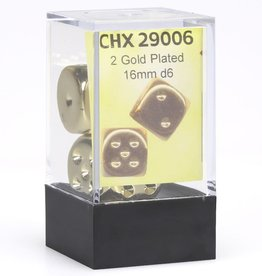 Chessex D6 Dice Pair: Gold-plated 16mm With Pips