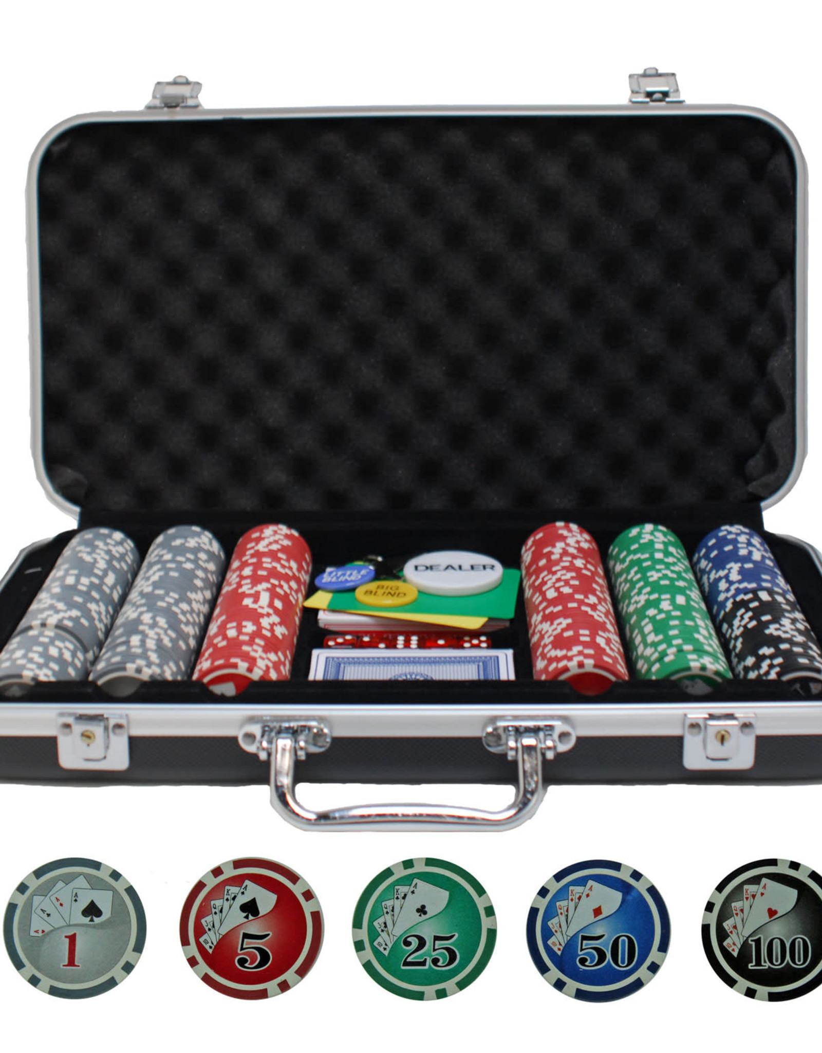 Poker Set: 300 PC Set with cards in Aluminium Case