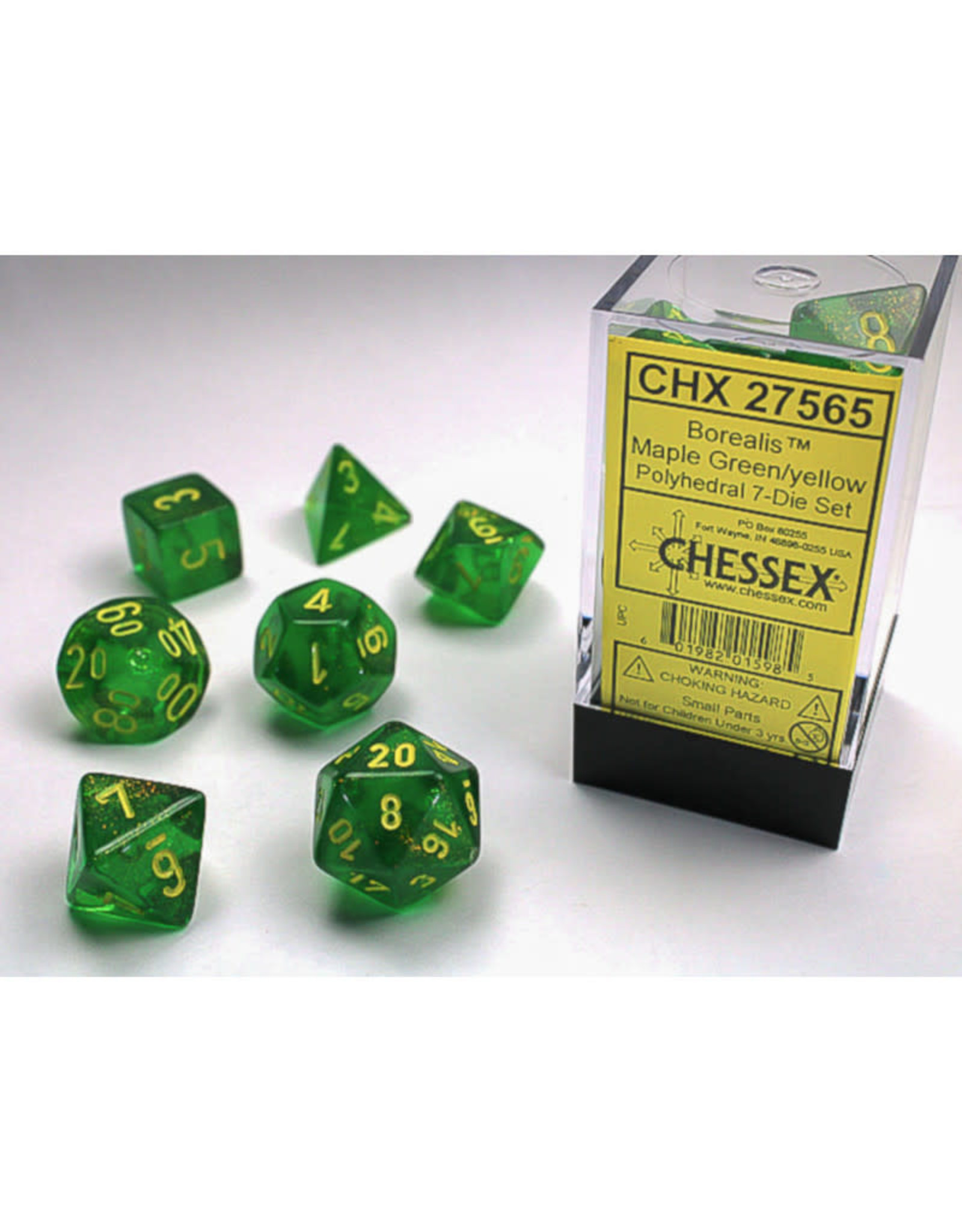 Chessex Polyhedral Dice Set: Borealis Maple Green/Yellow (7)