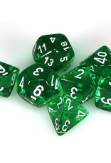 Chessex Polyhedral Dice Set: Translucent Green/White (7)