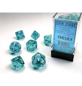 Chessex Polyhedral Dice Set: Translucent Teal/White (7)