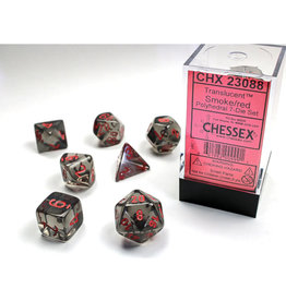 Chessex Polyhedral Dice Set: Translucent Smoke/Red (7)