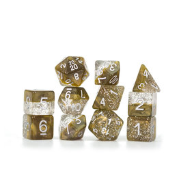 Gate Keeper Games Sparkle Dice Set: Gold (7 Polyhedral Dice)