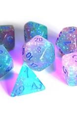 Chessex Polyhedral Lab Dice: Gemini Luminary Gel Green/Pink/Blue (7)