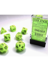 Chessex Polyhedral Dice Set: Vortex Bright Green/Black (7)