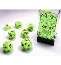Chessex Polyhedral Dice Set: Vortex Bright Green/Black (7)