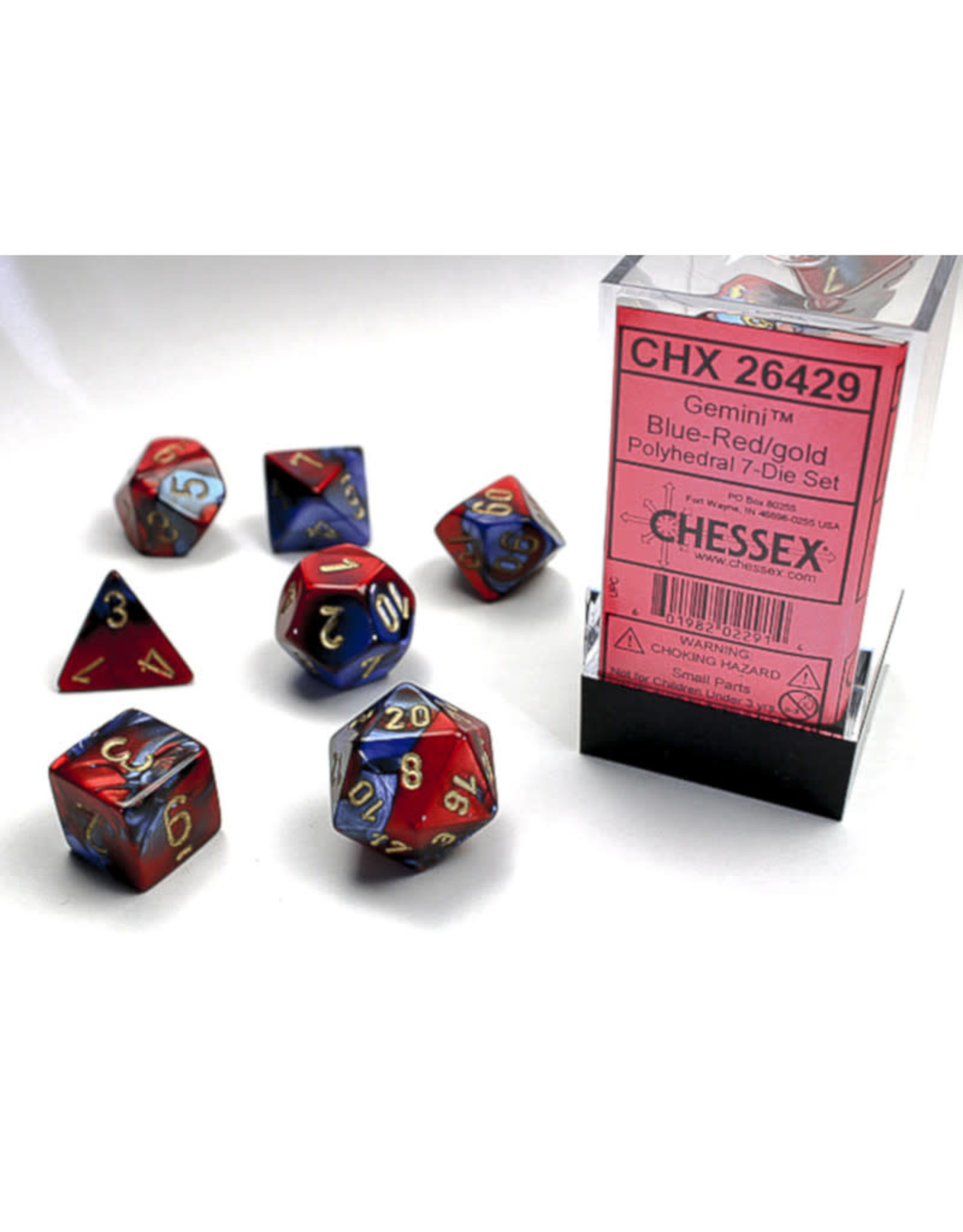 Chessex Polyhedral Dice Set: Gemini Blue Red/Gold (7)