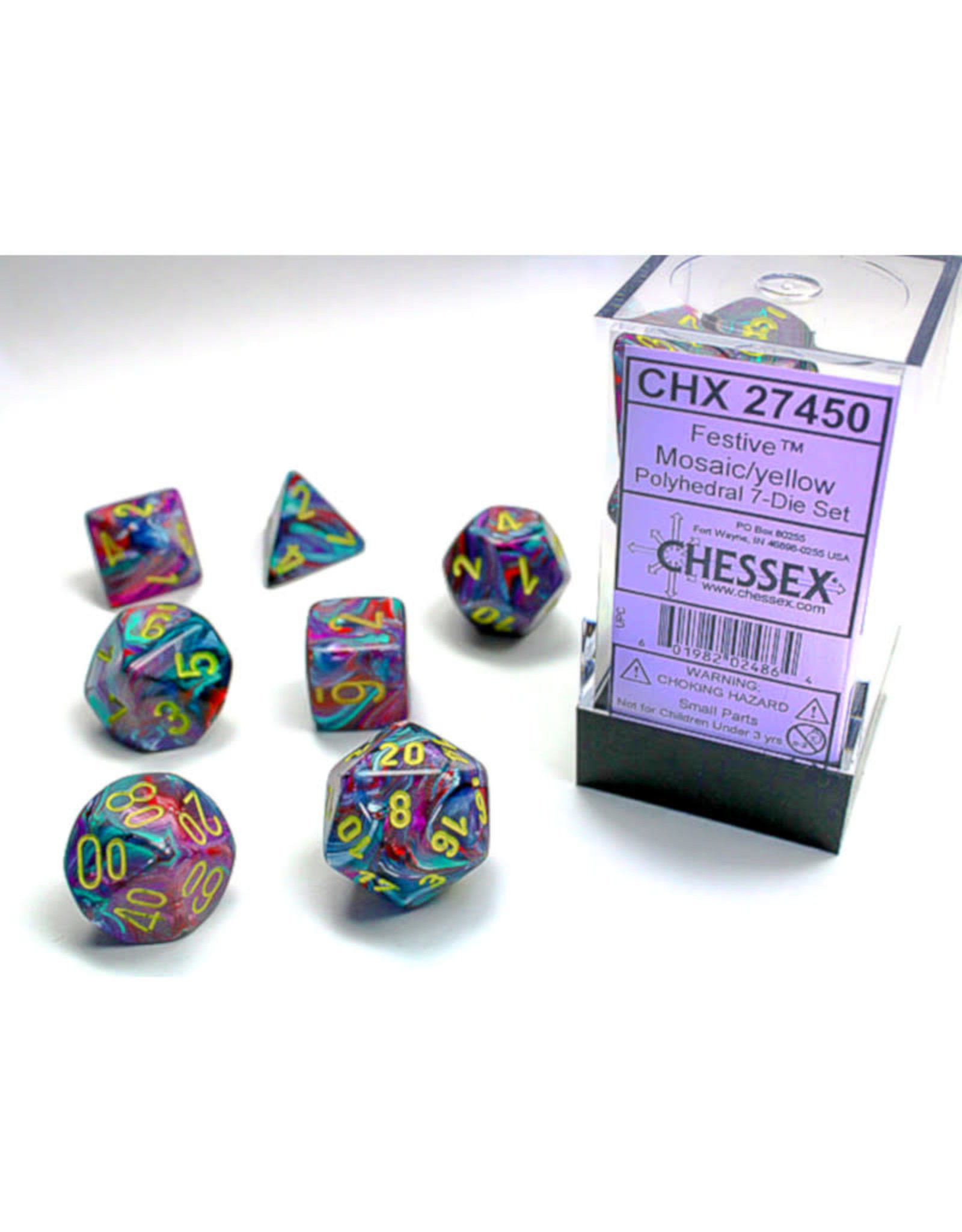Chessex Polyhedral Dice Set: Festive Mosaic Yellow (7)